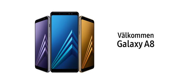 Galaxy a8 kommer i svart, guld och grå